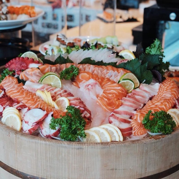 fresh sashimi at Hanoi hotel buffet
