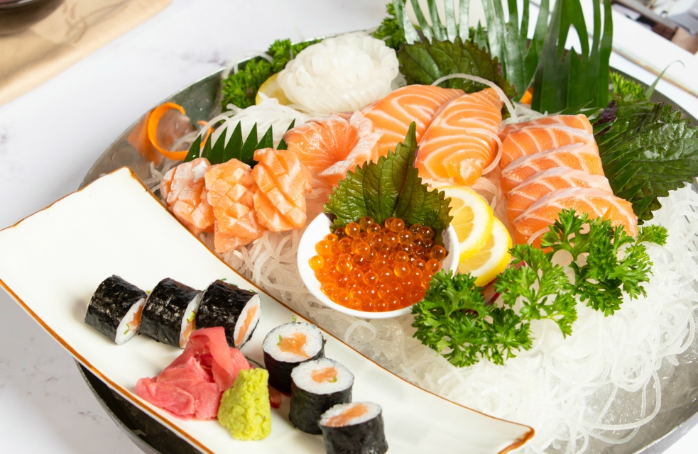 fresh salmon sashimi sushi set hotel in hanoi