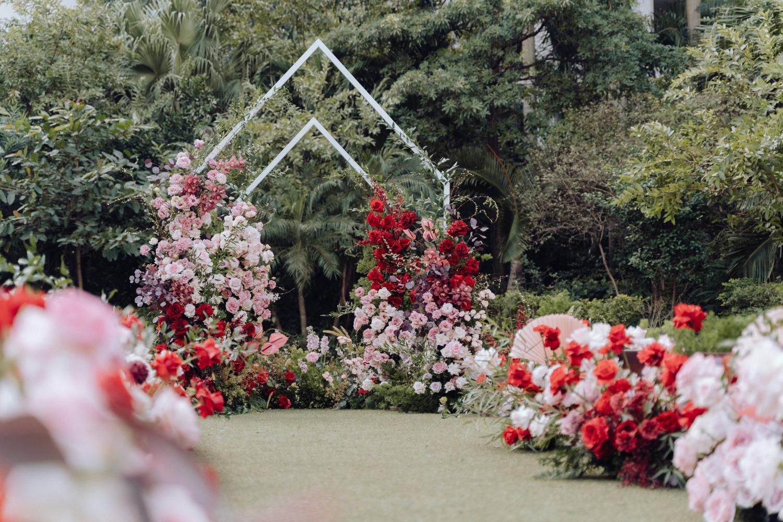 red theme outdoor wedding arrangement in Hanoi