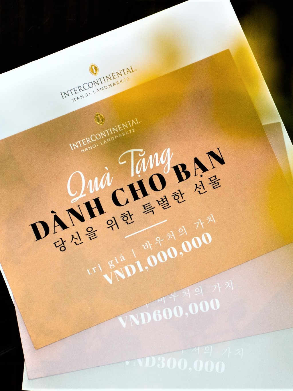 intercontinental hanoi dining gift card