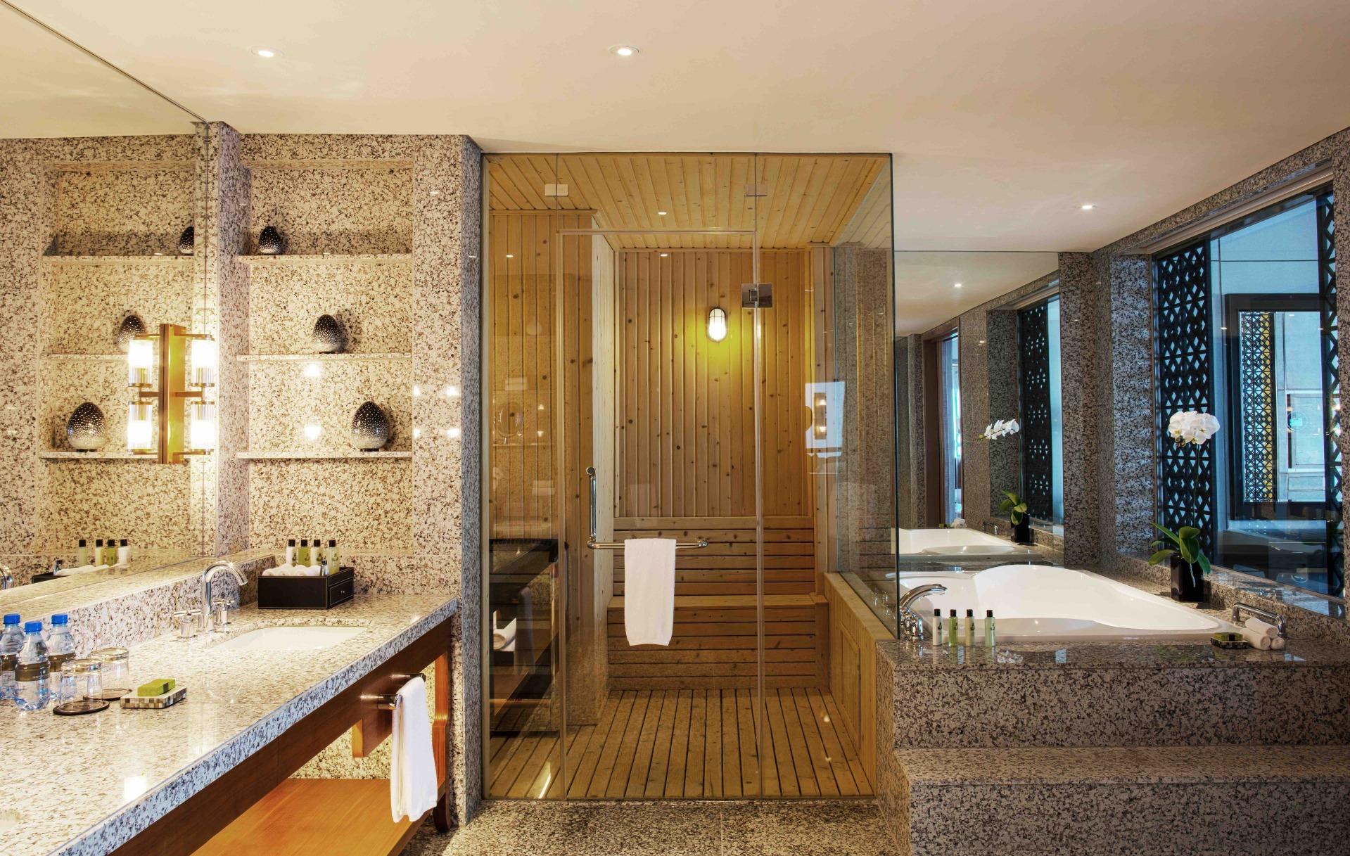 intercontinental hanoi luxury accommodation bathroom with jacuzzi and bathtub