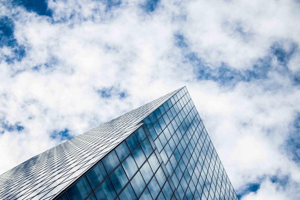 blue sky from hanoi city hotel skyscrapers