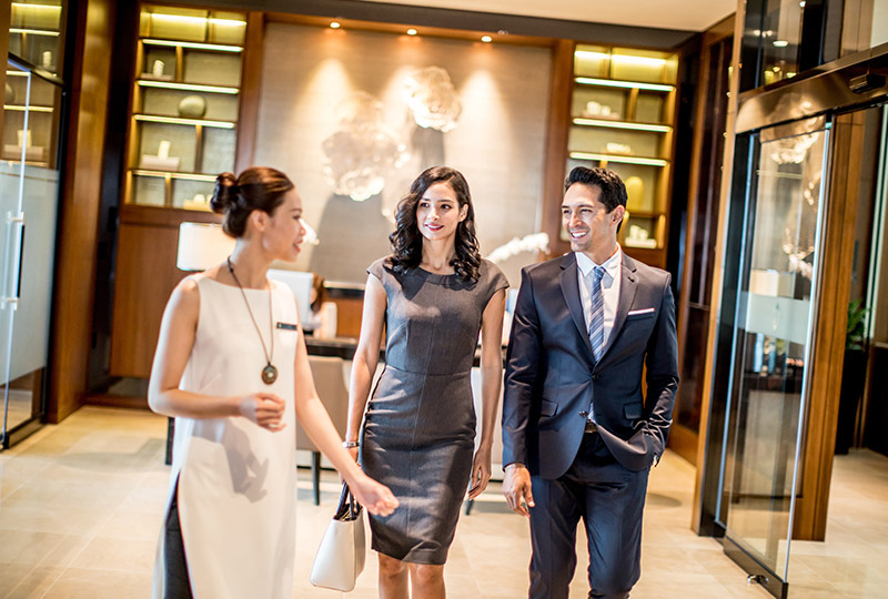business travellers in Hanoi city hotel